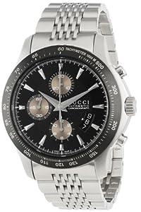 Gucci Men's YA126214 G-Timeless Chronograph Black Dial Steel Bracelet Watch