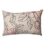 Pillow Perfect Floral Decorative Rectangle Toss Pillow, 18-1/2-Inch by 11-1/2-Inch, Red/Beige