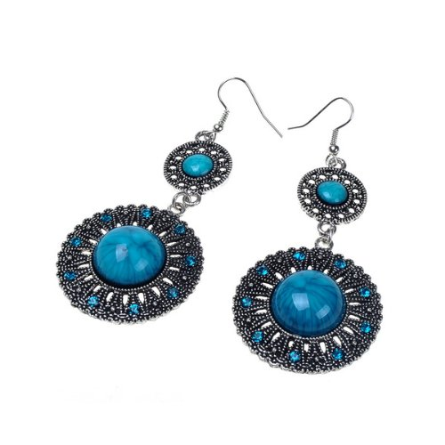 Beautiful Blue Vintage Look Design Archaize Earring Long Dangle Drop Earrings