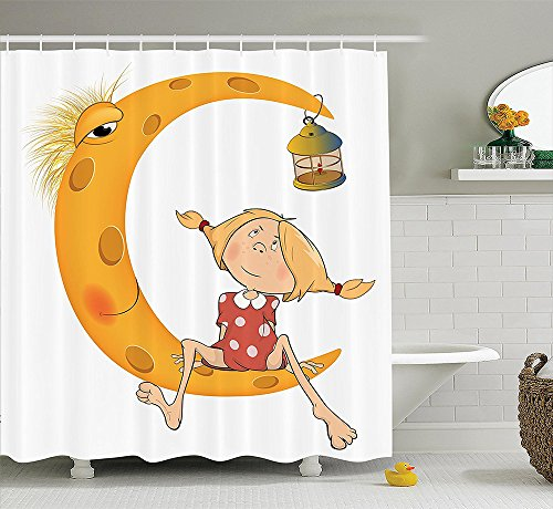 Teen Girls Decor Collection Little Girl Sitting Barefoot on Moon with Eye and Lamp Childhood Mystery Theme Cartoon Polyester Fabric Bathroom Shower Curtain Set Orange