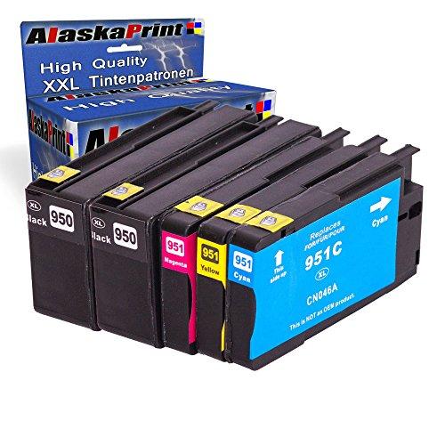 Premium 5er Set Kompatible Tintenpatronen Als Ersatz für Hp 950 XL + HP 951 XL mit Chip und Füllstandsanzeige (Schwarz , Cyan , Magenta , Yellow) 5x950- 951-hp