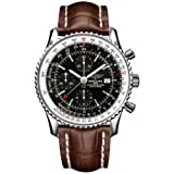 Breitling Navitimer World Men's Quartz Watch with Black Dial Chronograph Display and Brown Leather Strap A2432212/B726/756P