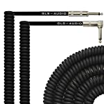 GLS Audio 20 Foot Curly Guitar Instrument Cable - Right Angle 1/4 Inch TS to Straight 1/4 Inch TS 20 FT Cord 20 Feet Phono 20' 6.3mm - SINGLE by GLS Audio