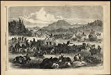 Travel Woes Vera Cruz to Mexico Fording River 1867 antique wood engraved print