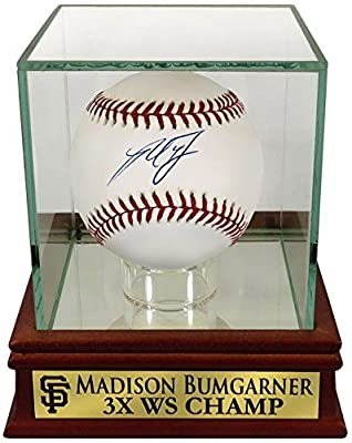 "SF Giants Madison Bumgarner Autographed Official MLB Baseball w/ ""3x WS CHAMP"" Case (COA)"