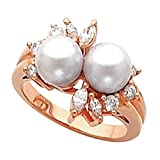 18K Rose Gold Akoya Cultured Pearl and Diamond Ring - 7.00mm Size 5.0