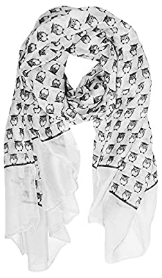 Peach Couture Lightweight Soft Animal Owl Printed Scarf Shawl