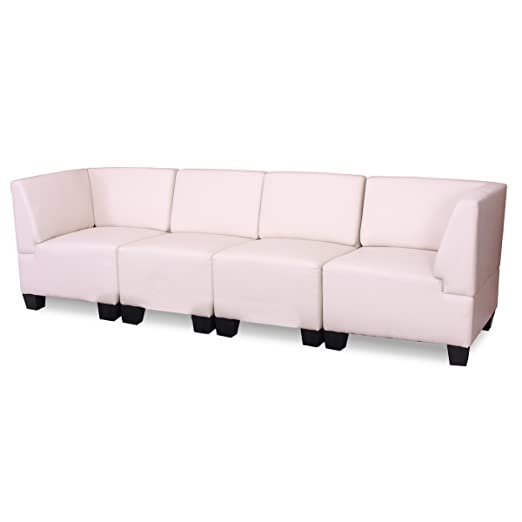 Modular 4-Sitzer Sofa Couch Lyon, Kunstleder ~ creme