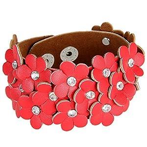 MULBA Fashion Style Red Flower Bracelet Bracelet Femmes Wrap Bracelet Sl2722