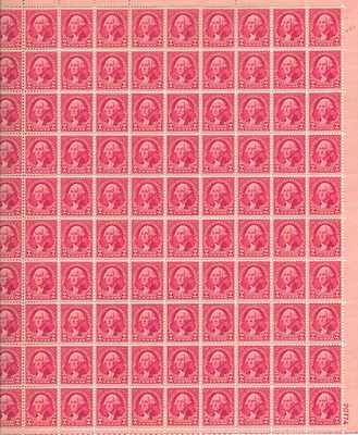 George Washington Sheet of 100 x 2 Cent US Postage Stamps NEW Scot 707