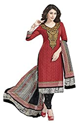 Aarvi Fashion Ethnicwear Women's Dress Material(Red_Free Size)