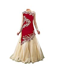 AIKA Beige & Red Women's Net Semi Stitched Anarkali Suit