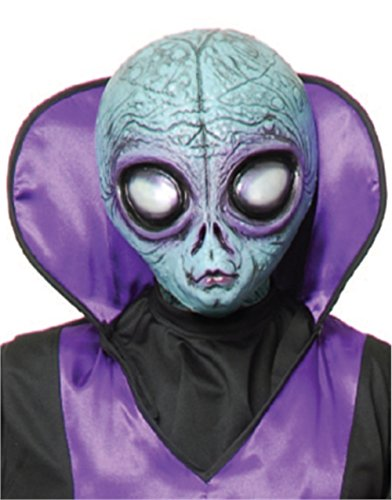 Adult Blue Area 51 Scary Science Fiction Alien Costume Latex Mask Large Eyes
