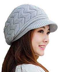 Women's Winter Warm Knit Hat Wool Snow Ski Caps With Visor(Grey)
