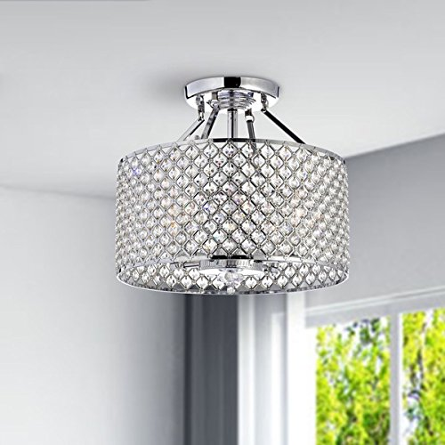Round ceiling chandelier crystal lighting fixture modern for Round bathroom light fixtures