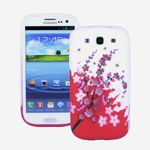 Fosmon Dura Series Design Tpu Protective Skin Case For Samsung Galaxy S3 / S Iii (Red And White Spring Flowers)