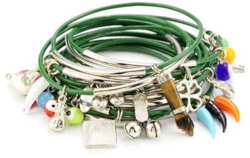 Accessories & Beyond Set of 15 Green Leather Bangles With Assorted Charms