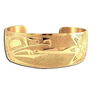14K Yellow Gold Northwest Coast Native American Raven Sun Bracelet. Made in USA.