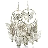 Large Dangle Circle Butterfly Earrings