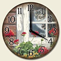 A Lazy Day for Cats 12-Inch Decorative Wood Wall Clock by Highland Graphics