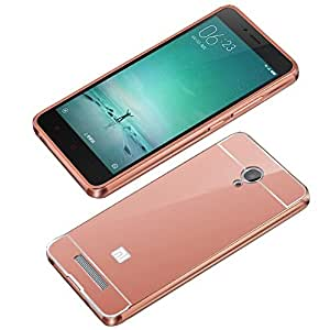 Aart Luxury Metal Bumper + Acrylic Mirror Back Cover Case For SamsungMI4 RoseGold+ Flexible Portable Mount Cradle Thumb OK Designed Stand Holder