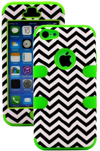 Mylife (Tm) Bright Lime Green + Black Chevron 3 Layer (Hybrid Flex Gel) Grip Case For New Apple Iphone 5C Touch Phone (External 2 Piece Full Body Defender Armor Rubberized Shell + Internal Gel Fit Silicone Flex Protector + Lifetime Waranty + Sealed Inside
