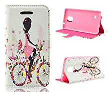 buy Note 4 Case,Galaxy Note 4 Case, Welity Bicycle Riding Girl Pu Leather Wallet Type Magnet Design Flip Case Cover Credit Card Holder Pouch Case For Samsung Galaxy Note 4 And One Gift