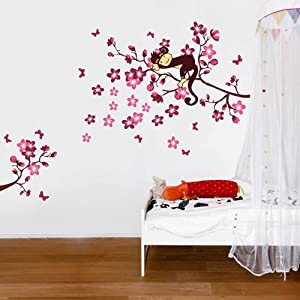 Sleeping Monkey on Pink Flower Tree Wall Sticker for children bedroom baby nursery