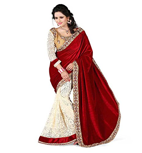 Sonakshi Sarees Velvet Maroon Color Wedding Collection Sarees With Blouse Fancy Blouse Piece