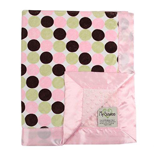 """My Blankee Retro Dot Minky w/ Minky Dot Pink Baby Blanket, 30"""" x 35"""""""