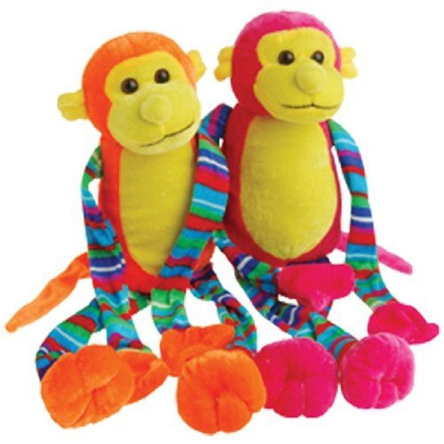 Set Of Two Assorted Color Neon Striped Velcro Hands & Feet Stuffed Plush Monkeys