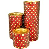 Mosaic Candle Holder, Pillar Candle Holder - Red Color (Set Of 3)