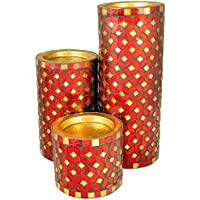 Coolethnic Decorative Antique Pillar Candle Holder - Red & Onyx Mosaic (Set Of 3)
