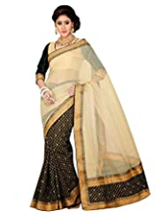 Ambitions Fashion Women's Beige And Black Raw Silk Lace Saree