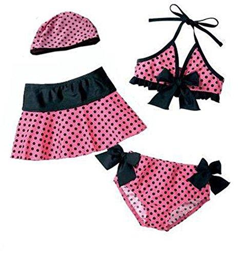 batedan-costume-due-pezzi-a-pois-classico-senza-maniche-ragazza-rosa-rosa