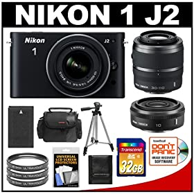 Nikon 1 J2 Digital Camera Body with 10-30mm & 30-110mm VR Zoom Lens (Black) with 10mm f/2.8 Lens + 32GB Card + Case + Battery + 3 Filters + Tripod + Wide-Angle & Telephoto Lenses + Accessory Kit
