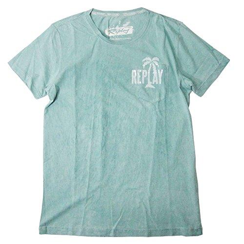 (リプレイ) REPLAY ポケット ロゴ Tシャツ ヴィンテージ Blue(588) M