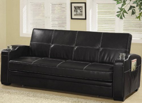 futon-sofa-bed-with-storage-pocket-and-cup-holder-in-black-leather-like