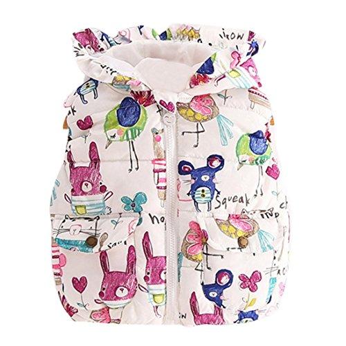 AMA(TM) Baby Girl Winter Warm Coat Animal Graffiti Print Hooded Jacket (80CM, Multicolor)