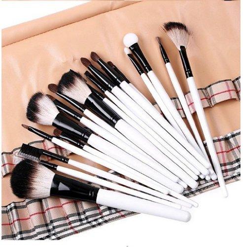 Fashion Base New Lot de 20 Poudre Blush Ombre à paupières pinceau de maquillage Set + Beige Plaid Pochette Sac