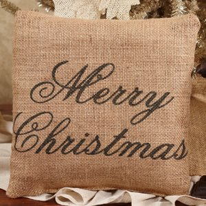 Merry Christmas - French Flea Market Burlap Accent Throw Pillow 8-in x