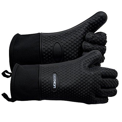 Barbacoa Grill guantes, geekhom guantes de silicona resistente al calor guantes de horno, resistente al agua antideslizante manopla con protección & algodón interior capa para barbacoa, cocinar, hornear (negro)