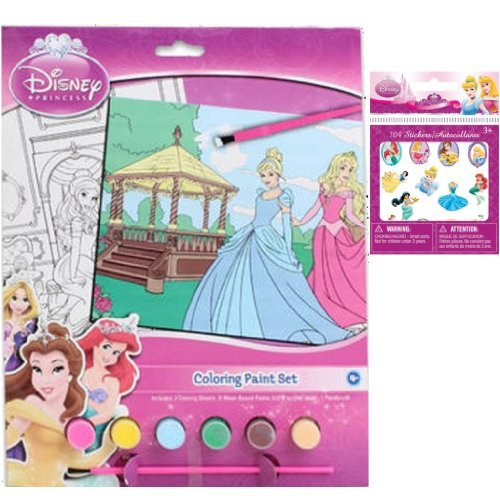 Disney Princess Coloring Paint Set Gift Set for Kids - Princess Coloring Paint Set with 2 Coloring Sheets, 6 Water-Based Paints & 1 Paint Brush Plus 104 Foil Princess Stickers