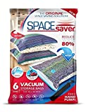 SpaceSaver Premium *JUMBO* Vacuum Storage Bags (Works With Any Vacuum Cleaner + FREE Hand-Pump for Travel!) Double-Zip Seal and Triple Seal Turbo-Valve for 80% More Compression! (6 Pack)