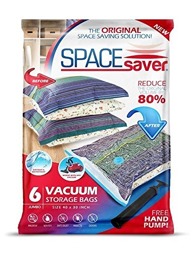SpaceSaver Premium *JUMBO* Vacuum Storage Bags (Works With Any Vacuum Cleaner + FREE Hand-Pump for Travel!) Double-Zip Seal and Triple Seal Turbo-Valve for 80% More Compression! (6 Pack) (Storage Bag For Bedding compare prices)