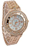 Timiho Round White Dial With Crystal Studded Bezel And Gold Belt Watch For Women