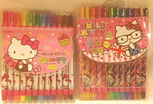 Hello Kitty 12 Pc Twistable Crayons And 12 Pc Marker Set front-878437
