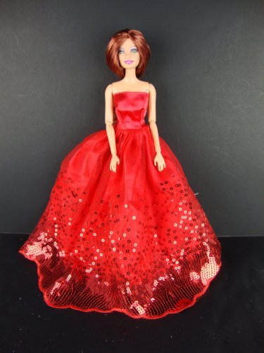 The Most Amazing Red Dress with Sequins Made to Fit the Barbie Doll - 1