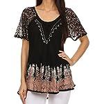 Sakkas Cora Relaxed Fit Batik Design Embroidery Cap Sleeves Blouse / Top