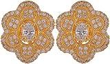 Violet & Purple Gold Plated Stud Earrings For Women (1000031070)